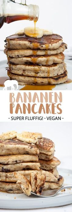 Fluffige Bananen-Pancakes mit Schokostückchen (Vegan) |ElephantasticVegan.de #vegan #pancakes #pfannkuchen #bananen via @elephantasticv