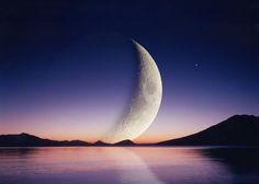 Moon over Lake Shikotsu in Hokkaido