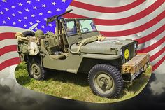Willys World War Two Army Jeep and American Flag fine art poster prints.