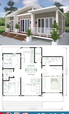 Tiny Beach House, Small Beach Houses, Beach House Floor Plans, Dream House Plans, Sims House Design, Small House Design, Affordable House Plans, House Construction Plan, Beautiful House Plans