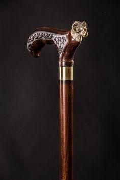 Chrome Eva Antique Brass Head Design Handle Handmade Wooden Walking Stick Cane
