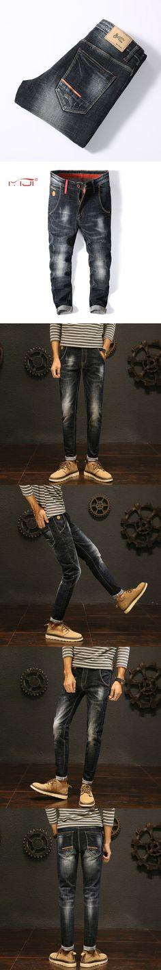 High quality Jeans men 2017 Fashion men's trousers Plus size Casual Men Jeans Blue-black pants men Regular trousers