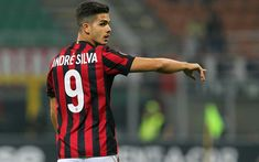 Download wallpapers 4k, Andre Silva, footballers, AC Milan, Serie A, match, soccer, Rossoneri