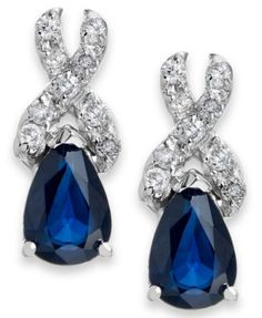 Sapphire (1 ct. t.w.) and Diamond (1/8 ct. t.w.) Drop Earrings in 14k White Gold | macys.com