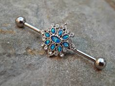 Fire Opal Industrial Barbell Blue Opal Center 14ga Body Jewelry Ear Jewelry Double Piercing Rhinestone