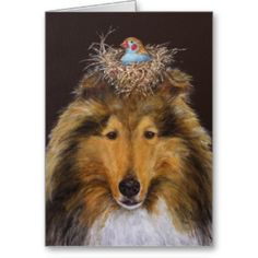 Vicki Sawyer Collie and bird card 2