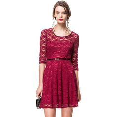 Fit & Flare Lace Dress With Belt - Red ($20) ❤ liked on Polyvore featuring dresses, crimson, crimson dress, lacy red dress, fit and flare dress, lace dress and red lace dress