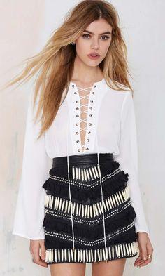 stunning statement fringe skirt