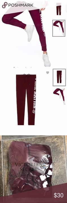 NEW Vs Pink Gym Pant Size Small New in package (only opened) Pink nation logo gym pants size small. Maroon/plum color. True to size and has drawstring for adjustment. No holds. Bundle and save!!! Price is firm on here. PINK Victoria's Secret Pants Track Pants & Joggers