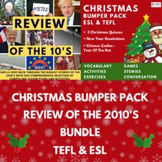 Christmas Bumper Pack & Review Of The 2010's Bundle by TEAM TEFL Vocabulary Exercises, Vocabulary Games, Connecting Words, Christmas Trivia, Christmas Destinations, Esl Resources, Teacher Lesson Plans, Comprehension Questions, Christmas Activities