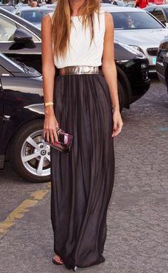 outfit falda larga #1
