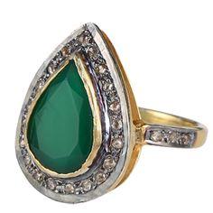 Ringe SUPERIOR GREEN - cool dråbeformet ring med diamanter og grøn onyx - Ringe - Produkter - Smykker