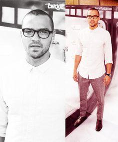 Jesse Williams, white button down shirt tweed pants