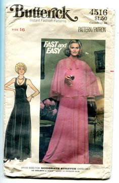 cd1e3d5f2a0 Easy Evening Dress Pattern Sleeveless Fit and Flare Dress and Sheer Cape U  Neck Maxi Butterick 4516 Bust 38 Vintage Sewing Pattern