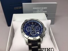 Seiko Chronograph Mens Stainless Steel Watch 100m Water Resistance