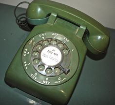 vintage green rotary telephone