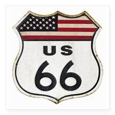 "Vintage Route 66 Square Sticker 3"" x 3"" on CafePress.com"