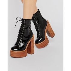 Jeffrey Campbell Paulita Mega Platform Lace Up Ankle Boots ($135) ❤ liked on Polyvore featuring shoes, boots, ankle booties, laced boots, lace up bootie, short boots, laced up ankle boots and ankle boots