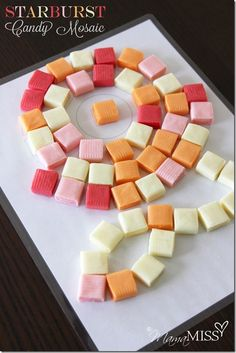What to do with extra Halloween candy: Food art for kids like a Starburst Candy Mosaic | Mama Miss