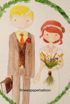 watercolor cartoons | Wedding watercolor cartoon
