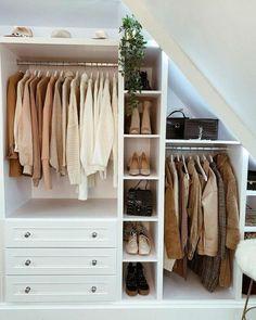 Closet Bedroom, Home Bedroom, Bedroom Decor, Ikea Bedroom, Open Wardrobe, Attic Rooms, My New Room, Dressing Room, Home Furnishings