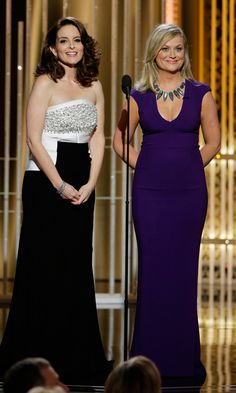 At the 2015 Golden Globes, Tina Fey wore an Antonio Berardi floor-length gown. Amy Poehler opted for a purple form-fitting gown with a low-cut neckline from Stella McCartney's autumn 2015 collection accessorized with a gorgeous statement necklace.