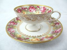 R s Prussia Pedestal Demitasse Cup and Saucer C1905