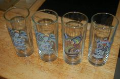DON-ED HARDY DESIGNS VINTAGE GLASSWARE TUMBLERS SIGNED AND UNIQUE