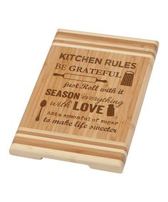 Love this 'Kitchen Rules' Bamboo Cutting Board by P. Graham Dunn on #zulily! #zulilyfinds