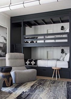 The Mountain Fixer: Kids Bunk Room Update - bunk room design and overall floor plan for mountain house - Bunk Bed Rooms, Bunk Beds Boys, Bunk Beds Built In, Modern Bunk Beds, Kid Beds, Black Bunk Beds, Adult Bunk Beds, Boys Bunk Bed Room Ideas, Built In Beds For Kids