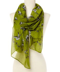 Moss Green Swallows Scarf