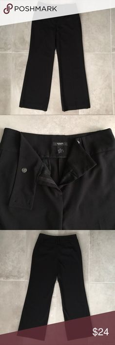 "Alfani Black Dress Wide Leg Trousers Pants Size 6P Alfani Black Dress Wide Leg Trousers Pants Size 6P  Excellent condition! Barely noticeable minor marks from hanger as shown in pic but never worn. 14"" waistband, 29"" inseam, 9.5"" front rise, 10.75"" leg holes, 12.5"" back rise. 62% polyester, 33% rayon, 5% spandex.   Reasonable offers welcome! 20% off bundles! No returns or trades please! Smoke- & pet-free home Alfani Pants Trousers"