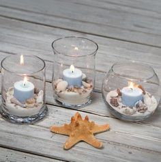 @Gwendolyn Kerry this reminded me of your on the beach wedding, Dollar Tree has this idea on their website, tealights with sand & shells.
