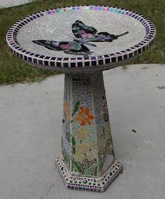 Jan and Joe's Mosaic Butterfly Birdbath