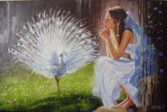 Beata #Anna #Topolińska #Biały#paw#olej#płótno#80x120 cm.