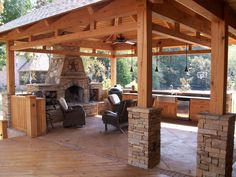 rustic pavilion plans fireplace | В» Cypress Timber Frame Pavilion & Stone Fireplace В» 113_1235.jpg