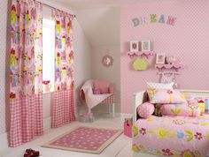 Bedroom:Charming Fresh Color Bedroom Decor Ideas With Assorted Color Modern Pattern Bed Cover Also Assorted Color Modern Pattern Fabric Curtain And Pink Color Kids Bedroom Design Besides White Ceramic Floor  Glass Window   Comfortable Bedroom Style For Modern House Decor Inspiration