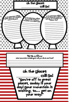"""Dr. Suess Writing Template (Freebie), """"Oh the Places You Will Go!"""" Help inspire students to think about their future!"""