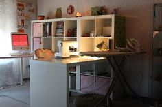 there's one of the L-shaped sewing tables.