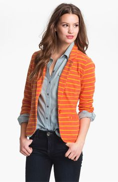 Striped blazer on top of a jean shirt