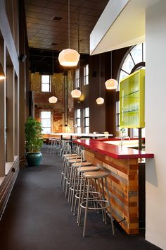 ZAAZ, an interactive digital agency in Seattle shot over some images of their space — complete with bar-height tables of course.