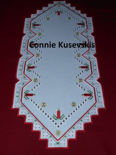 Hardanger Christmas Runner with candles and stars - stitchin fingers
