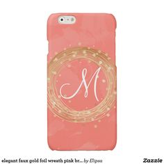 elegant faux gold foil wreath pink brushstrokes glossy iPhone 6 case