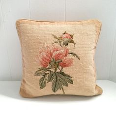 Vintage needlepoint pillow with antique pink by StudioSeaGlass