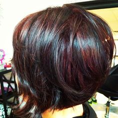 Dark Cherry Red with Black Dimension~ Textured Bob for movement