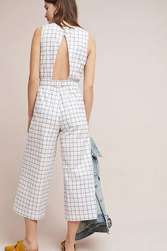 Windowpane Cropped Jumpsuit