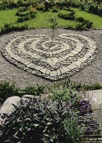 Stone Heart - Would love to do a smaller version of this with River Rocks inbetween my two small trees HMMMMM
