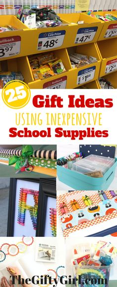 25 Creative Gift Ideas made with {CHEAP} school supplies . Grab some extra school supplies while they are cheap...here are some great gift ideas for all ages from #backtoschool sale finds! #backtoschool #schoolsupplies #giftsfromsupplies #diygifts #handmadegifts #teachergifts #giftideas #giftguide