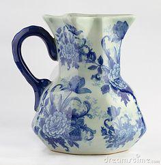 Blue and white floral porcelain jug