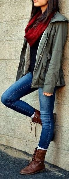 Brown leather boots, skinny jeans, burgundy scarf, olive utility jacket, black t-shirt.